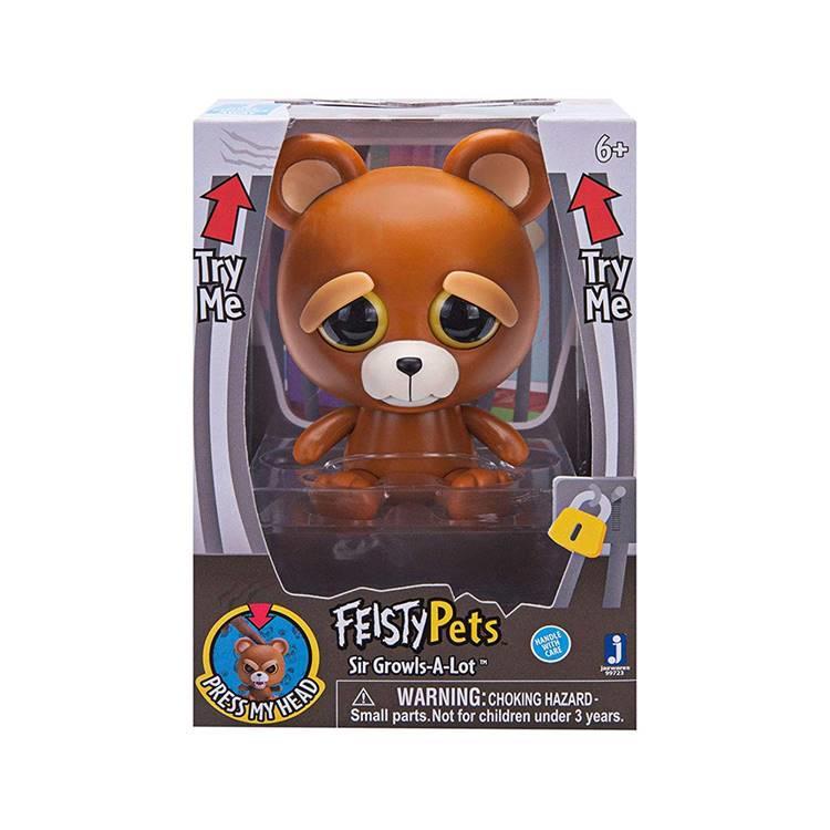 《 Feisty Pets 》變臉娃娃4吋公仔 棕熊 Sir-Growls-A-Lot Bear