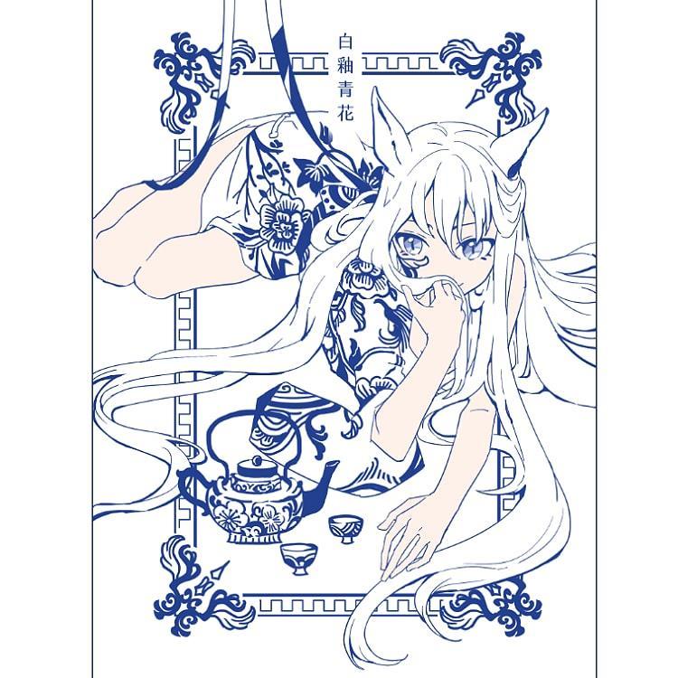 <白柚青花>燙藍明信片
