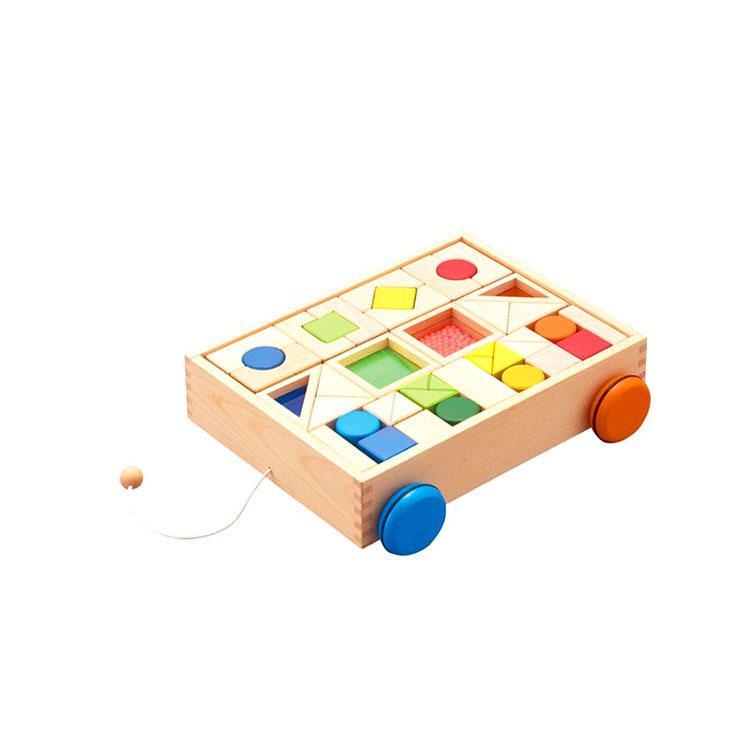 《 日本 Ed-Inter 》木玩系列 - 知育積木手拉車