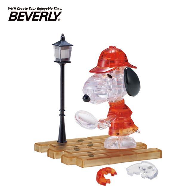 BEVERLY 史努比 偵探 立體水晶拼圖 34片 3D拼圖 水晶拼圖 公仔 模型 Snoopy