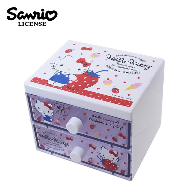 凱蒂貓 二抽 塑膠收納盒 抽屜盒 置物盒 桌面收納 Hello Kitty 三麗鷗 Sanrio