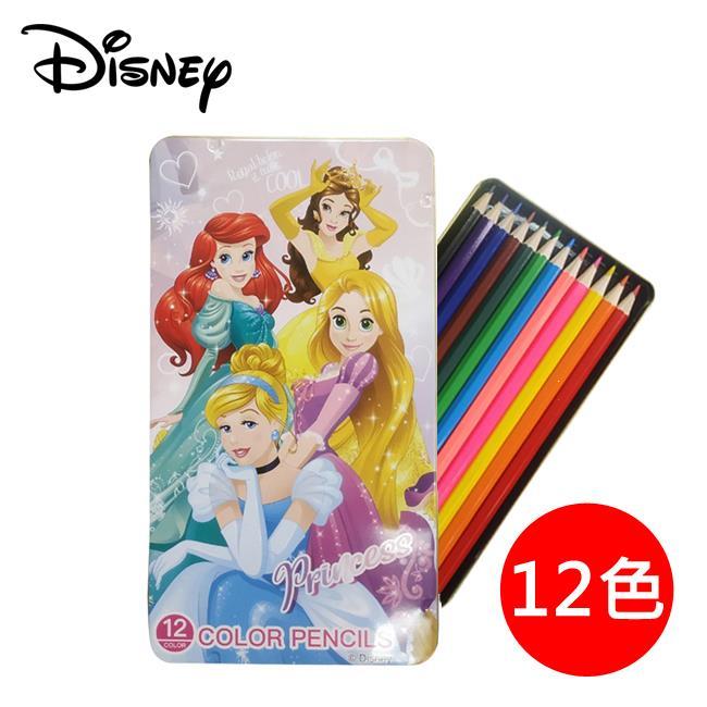 迪士尼公主 色鉛筆 12色 鐵盒裝 彩色鉛筆 六角色鉛筆 貝兒公主/長髮公主/小美人魚/仙杜瑞拉