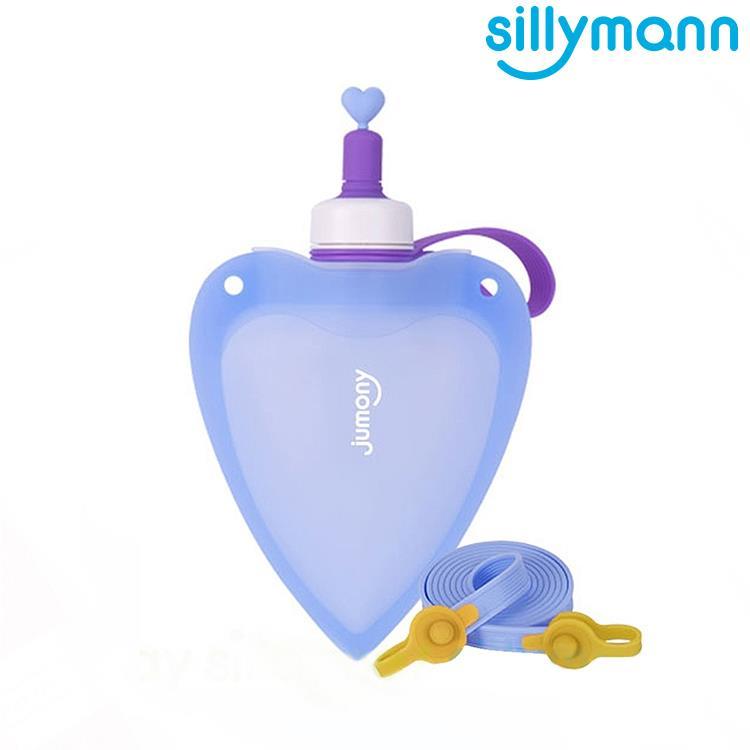 【韓國sillymann】 100%兒童便攜捲式鉑金矽膠心型水瓶-250ml-藍色