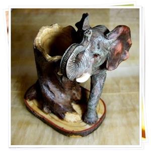 【1st Gift】復古手工彩繪Poly筆筒-大象