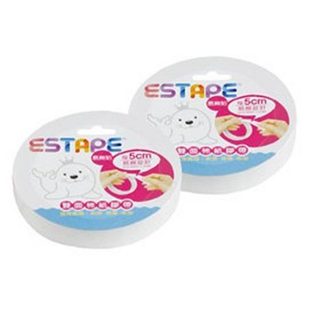 【ESTAPE】雙面棉紙膠帶18mmx5M(每5cm點斷)2入