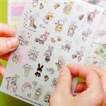 Hong2大黑框眼鏡兔日記透明貼紙(6入裝)