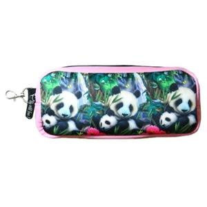 < Big wild fans! > 潛水布筆袋- 817貓熊母子圖 (粉紅)