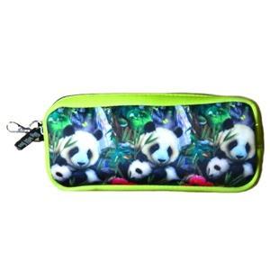 < Big wild fans! > 潛水布筆袋- 817貓熊母子圖 (綠)