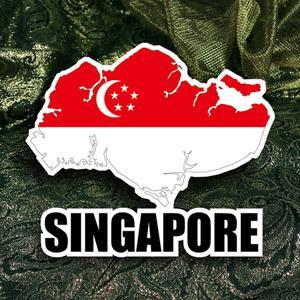 【國旗商品創意館】新加坡國旗地圖抗UV、防水貼紙/Singarpore/世界多國款可選購