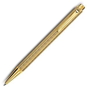 CARAN d'ACHE 艾可朵V型麥紋原子筆(鍍金GLIT)