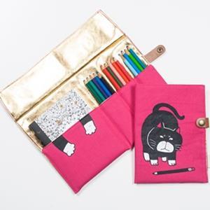 Cindy喵~(粉紅)多用途書本式24色彩色鉛筆筆袋