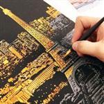 韓風手刮夜景金色城市塗鴉刮畫/壁畫/款式隨機出