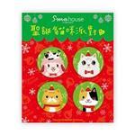 Smohouse 小圓胸章:聖誕貓咪派對四入組 (B)