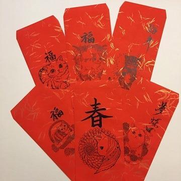 大衛畫貓-新年快樂-貓紅包袋-福氣紅每組6入-過年限定版(不挑款)