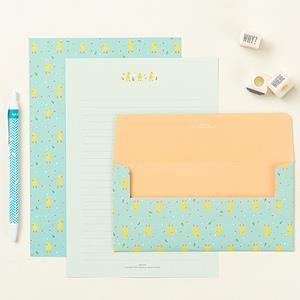 【Ardium】粉彩塗鴉信紙組/4張信紙2張信封 ( 黃色小鴨)