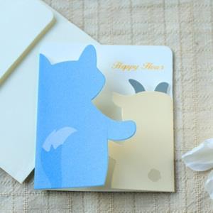 紙雕創意卡片‧狼與羊友誼卡4入