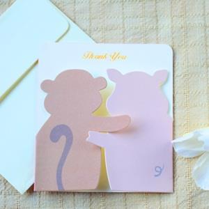 紙雕創意卡片‧猴與豬友誼卡4入