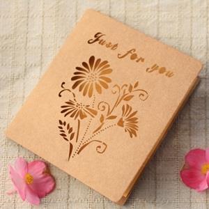 紙雕鏤空卡片‧黃色野菊花4入