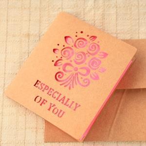 紙雕鏤空卡片‧玫瑰花束4入