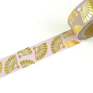 【i-tape】MIT和紙膠帶.日系燙金系列-扇舞(紫金)