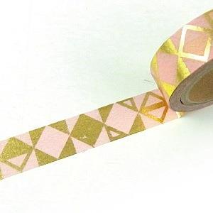 【i-tape】MIT和紙膠帶.粉彩燙金系列-幾何(粉紅)
