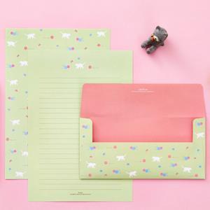 【Ardium】粉彩動物信紙組/4張信紙2張信封 ( 沁綠小貓)