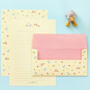 【Ardium】粉彩動物信紙組/4張信紙2張信封 ( 綻黃鳥兒)