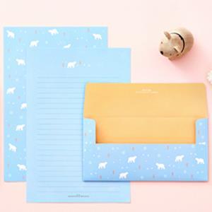 【Ardium】粉彩動物信紙組/4張信紙2張信封 ( 湛藍小熊)