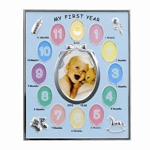 LADONNA Baby系列週歲成長記錄相框-粉藍