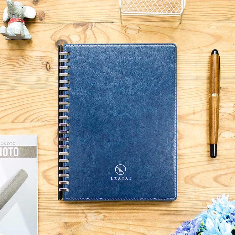 【Leatai 磊泰】歲月靜好 A5仿羊皮滑動夾活頁本 (介紙1.0 / 鋼筆適用紙)-藍色