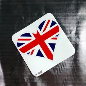 【國旗商品創意館】英國旗抗UV、防水尖角心形登機箱貼紙/UK