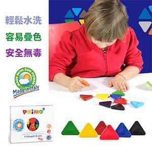義大利PRiMO可洗式三角造型兒童塗鴨蠟筆6色組