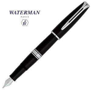 Waterman華特曼 CHARLESTON查理斯登系列 復古經典18K黑桿白夾鋼筆 F尖