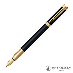 Waterman華特曼 PERSPECTIVE透視系列 優雅的建筑黑桿金夾鋼筆 F尖