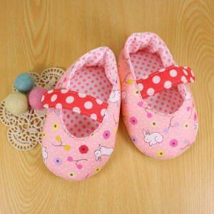 手縫ok!-嬰兒鞋B款-和風小兔(拼布材料包)