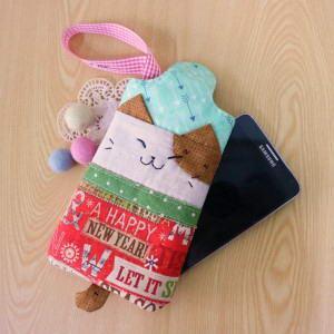 手縫ok!-凱西貓手機袋(拼布材料包)