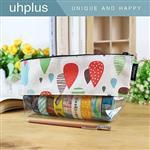uhplus 透明寬底筆袋-繽紛雨滴