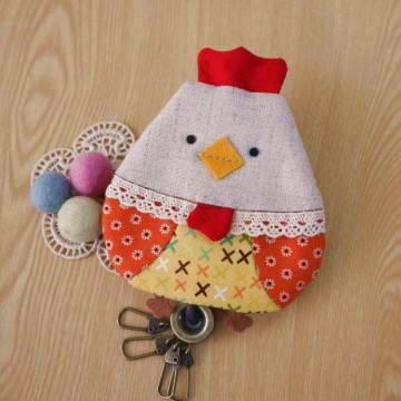 手縫ok!-咕咕雞鑰匙包(拼布材料包)