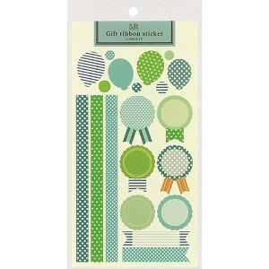 日本【LABCLIP】Merrily系列禮物緞帶貼紙-藍
