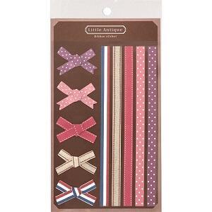 日本【LABCLIP】Little antique系列緞帶貼紙-粉紅