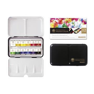 韓國 MUNGYO MWPH-12 專家級 塊狀水彩 12色 鐵盒裝 Watercolor Pan