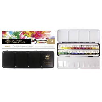 韓國 MUNGYO MWPH-24 專家級 塊狀水彩 24色 鐵盒裝 Watercolor Pan