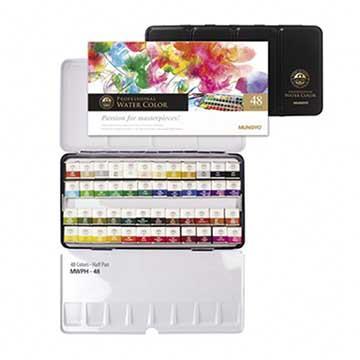 韓國 MUNGYO MWPH-48 專家級 塊狀水彩 48色 鐵盒裝 Watercolor Pan