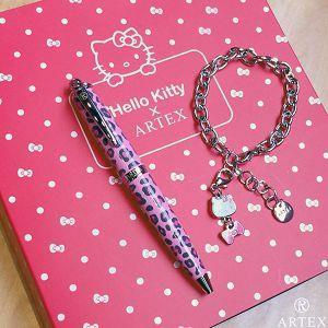 ARTEX x KITTY 吊飾筆 手環禮盒組-粉紅豹紋