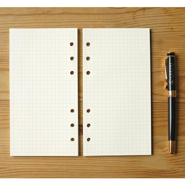 【Leatai 磊泰】介紙1.0 (鋼筆適用紙) / 48K方格6孔活頁紙 / 每包80張160頁