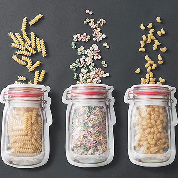 透明梅森瓶造型封口密封袋/收納袋(大號)