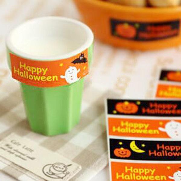 Happy Halloween橘黑雙色幽靈長條裝飾貼紙(4枚入)
