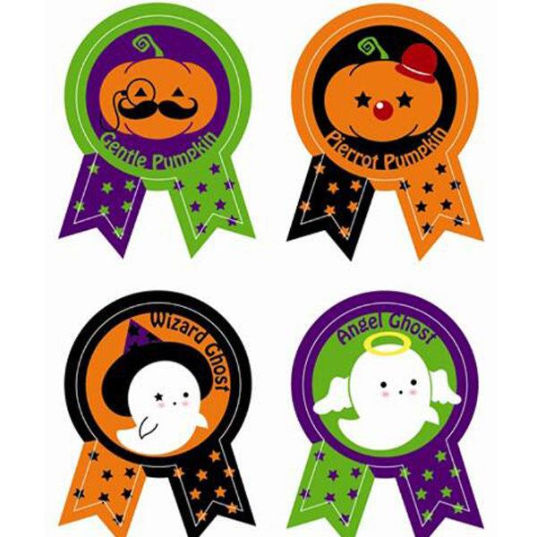 南瓜幽靈星星獎狀標籤裝飾貼紙(8枚入)