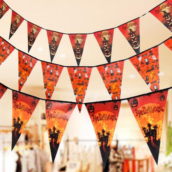 萬聖節派對恐怖驚喜大型倒三角旗幟/裝飾/擺飾/派對旗(隨機出貨)
