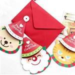 愛心聖誕帽可掀開可掛式聖誕節祝福小卡片/留言卡(隨機出貨)